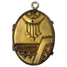 Large Victorian Gold Filled Etruscan Revival Locket