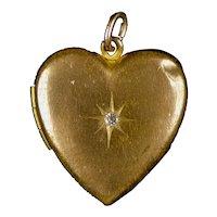 Large Vintage Art Deco Gold Filled Paste Heart Locket