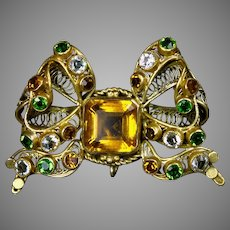 Exquisite Large Hobe Jeweled Bow Pin