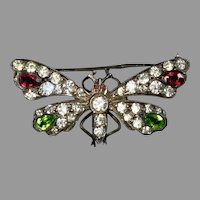 Victorian Sterling Paste Butterfly Brooch