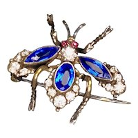 Czech Victorian Colorful Sterling Paste Bug Brooch