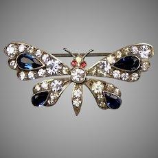 Victorian Silver Paste Butterfly Brooch