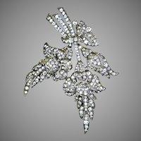 Sensational Art Deco Articulated Sterling Paste Floral Brooch