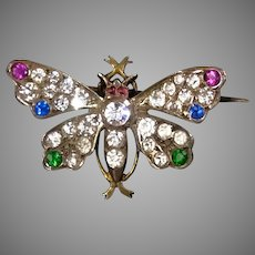 Victorian Sterling Paste Butterfly Lapel Pin