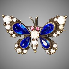 Victorian Colorful Sterling Paste Butterfly Brooch