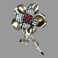 French Retro Vermeil Paste Flower Pin