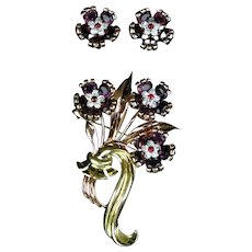 Stunning Rare Pennino Pin and Earrings Set