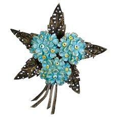 Elegant Sterling Flower Bouquet Pin Marcasite & Ceramic