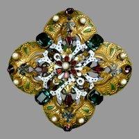 Opulent Large Hobe Jeweled Pin with Enamel