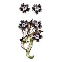 Stunning & Rare Pennino Set Vermeil Pin and Earrings