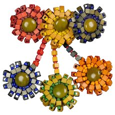 Vibrant Handmade Multi Color Wooded Flowers Pin