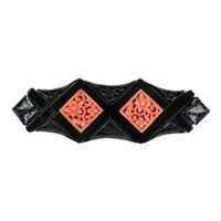 Unique Art Deco Black & Coral Bakelite Pin