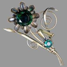 Huge Signed Retro Vermeil Flower Pin Brooch