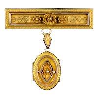 Large Victorian Etruscan Revival Locket Pin