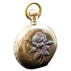 Large Antique  3-Color Gold Flower Locket Pendant