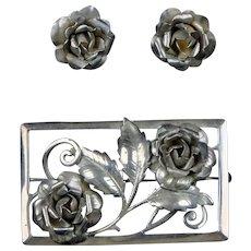 Sterling Silver Roses Pin Earrings Set