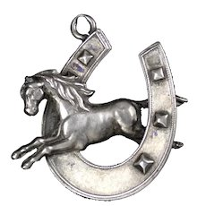 Victorian Sterling Silver Equestrian Shoe & Horse Pendant