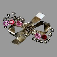 Large Retro Hobe Sterling Jeweled Bow Pin Brooch