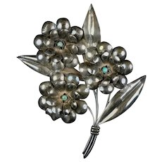 Huge Signed Retro Sterling Turquoise Flowers Pin Brooch