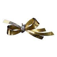Retro 14K Rose Gold Diamond Bow Watch Pin