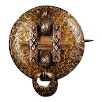 Victorian 14K Rose Gold Enamel Watch Pin
