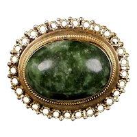 Vintage 14K Gold Jade Pin Pendant