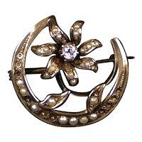 Art Nouveau 14K Gold Diamond Pearl Moon Flower Scatter Pin