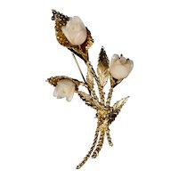 Mid Century 14K Gold Angel Skin Coral Roses Pin