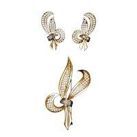 French Retro 18K Gold Diamond Pin & Earrings Set