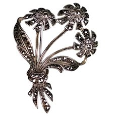 Art Deco Sterling Marcasite Bouquet Pin Brooch