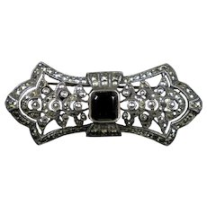 Art Deco Sterling Marcasite Black Onyx Pin Brooch