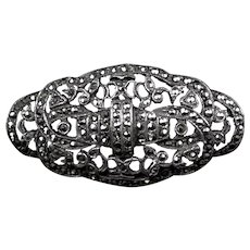Art Deco Sterling Marcasite Pin Brooch