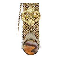 Victorian Agate Swivel Watch Fob Pendant