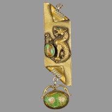 GNS Art Glass Victorian Watch Fob Pendant