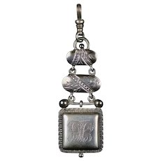 Antique Aesthetic Movement Sterling Silver Watch Fob Pendant