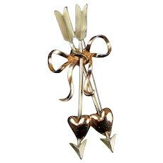 Large Romantic Hearts & Arrows  2-Color Pin