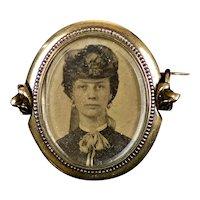 RARE Small Gold Victorian Swivel Locket Brooch