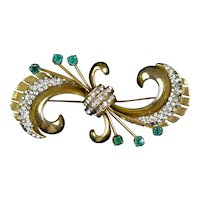 Stunning Large Retro Swirl Pin with Crystals