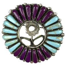 Vintage Native American Zuni Sterling Silver Turquoise Pin Pendant