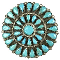 Vintage Native American Zuni Sterling Turquoise Pin Pendant