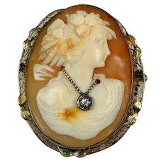 1930s 14K Gold Shell Cameo Diamond Necklace Pin Pendant