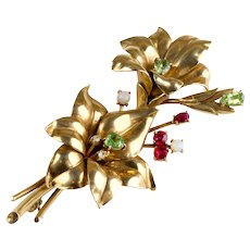 Large Dimensional Retro 14K Gold Spray Pin Brooch with Stones