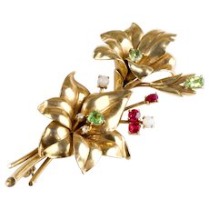 Gorgeous Retro 14K Gold Spray Pin Brooch  Diamonds Rubies Opals Peridots   Big & Bold