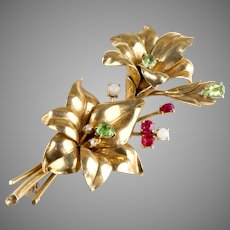 Large Retro 14K Gold Spray Pin Brooch Diamonds Rubies Opals Peridots