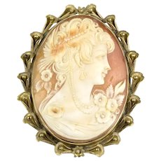 1930s Carved Cameo Pin in Substantial 18K Iris Frame