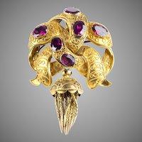 Antique 15K Gold Garnets Etruscan Revival Brooch with Tassel