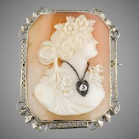 1930s 14K Gold Diamond Carved Shell Cameo Pin Pendant