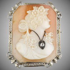 1930s Shell Cameo Pin 14KWG Filigree Frame  Lady Wearing Diamond Necklace  Nicely Carved