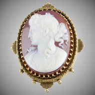 Museum Quality Antique Victorian Hard Stone Cameo Pin / Pendant  15K Gold  Exquisite Deep Carving  RARE