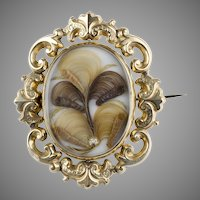 Large Georgian 18K Gold Swivel Brooch Exquisite Hair Work
